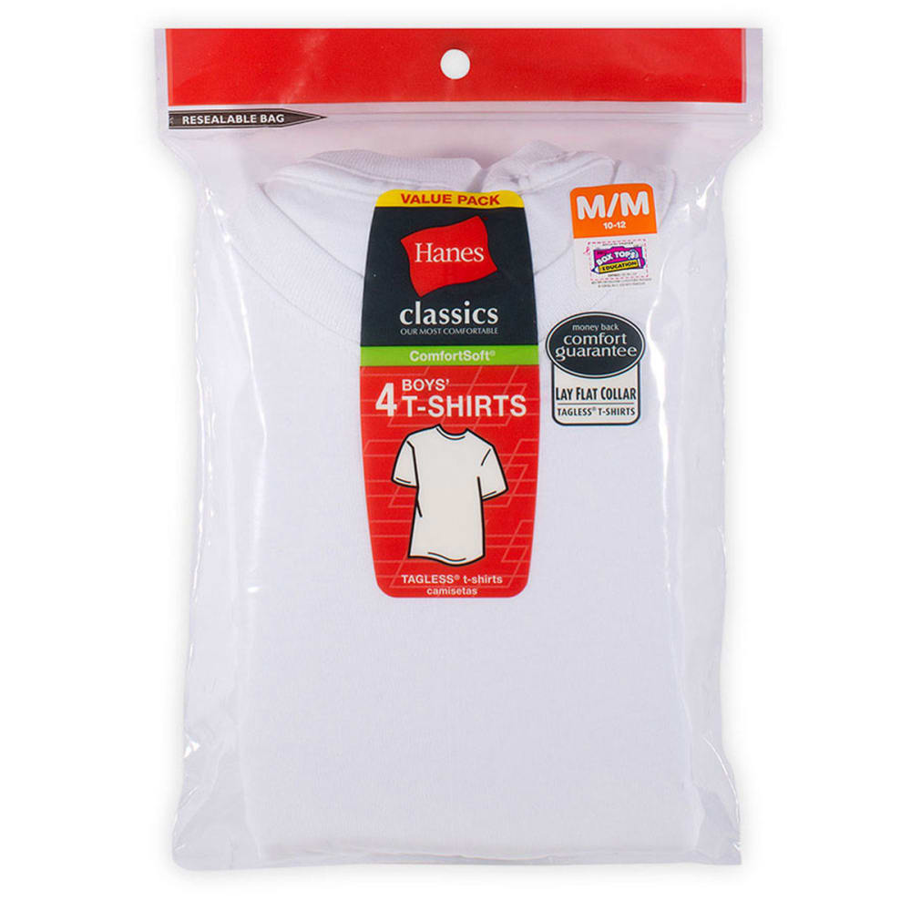 HANES Boys' Classics ComfortSoft® Tees, 4-Pack  - WHITE