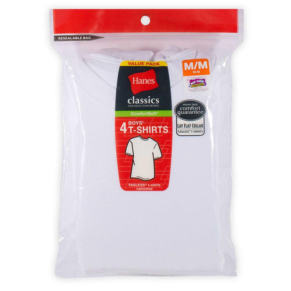 HANES Boys' Classics ComfortSoft® Tees, 4-Pack - WHITE