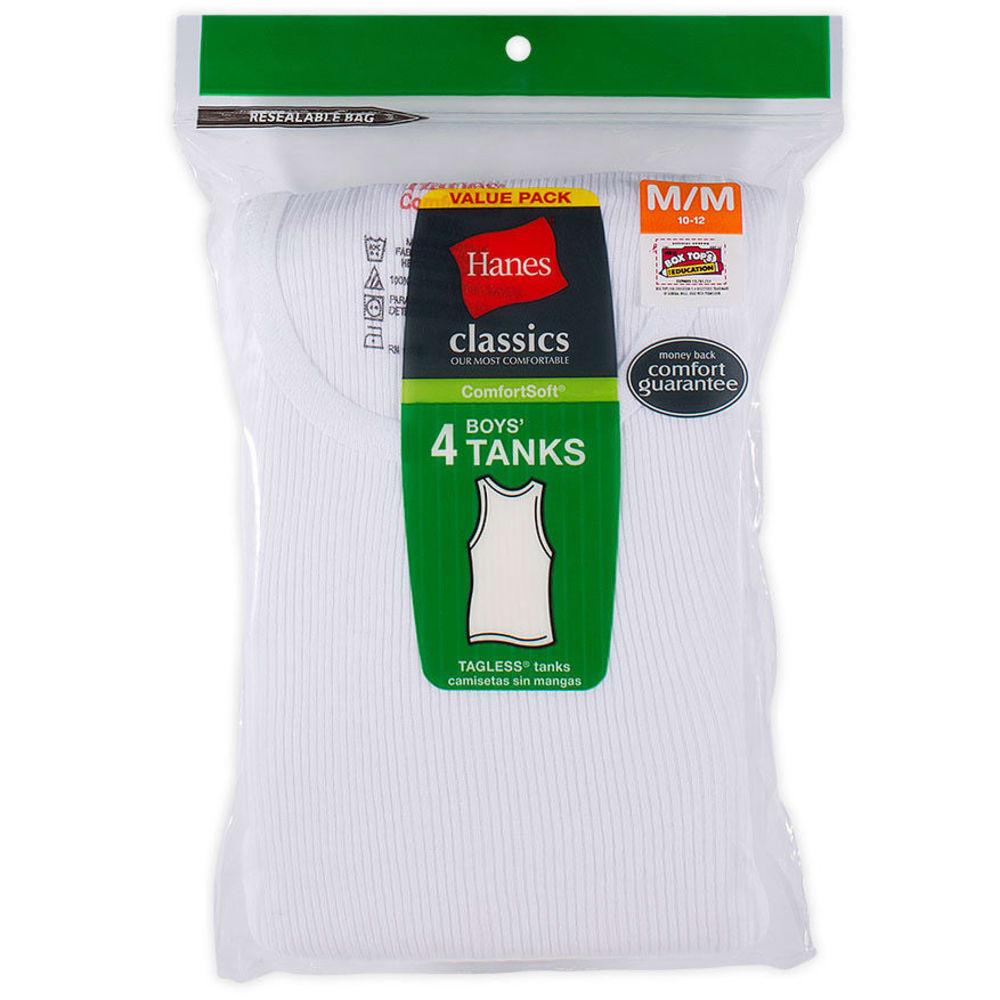 HANES Boys' Classics ComfortSoft® Tanks, 4-Pack - WHITE