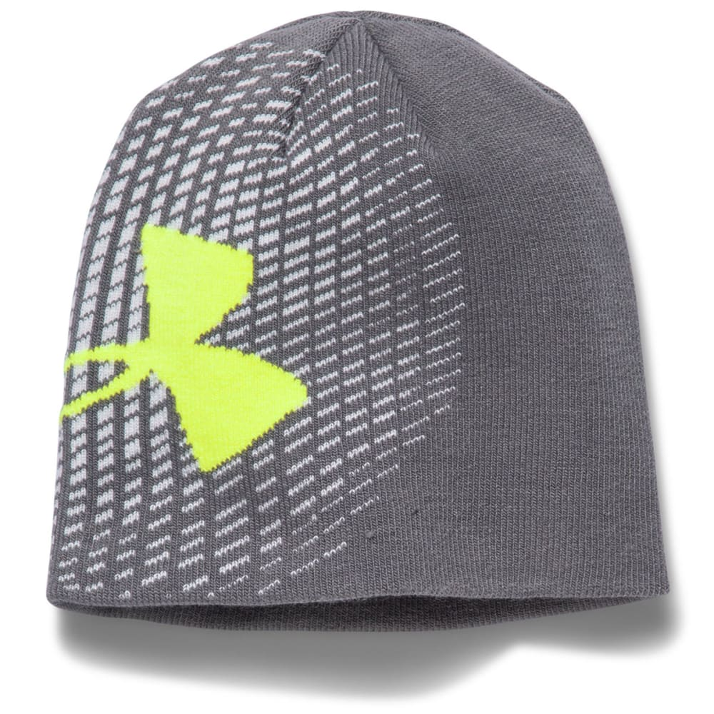 UNDER ARMOUR Boys' Billboard Glow-In-the-Dark Beanie - GRAPHITE/GREEN ENERG