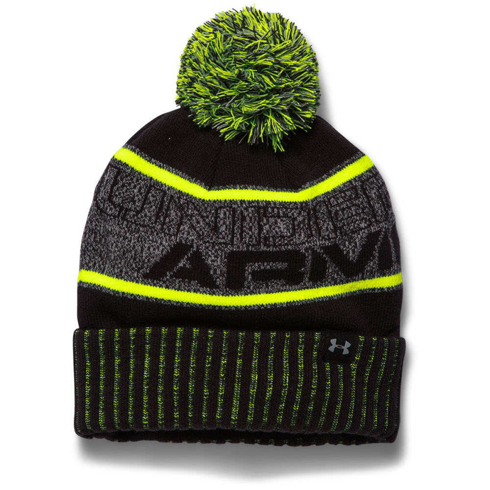 UNDER ARMOUR Boys' Pom Beanie - STEEL/BLACK