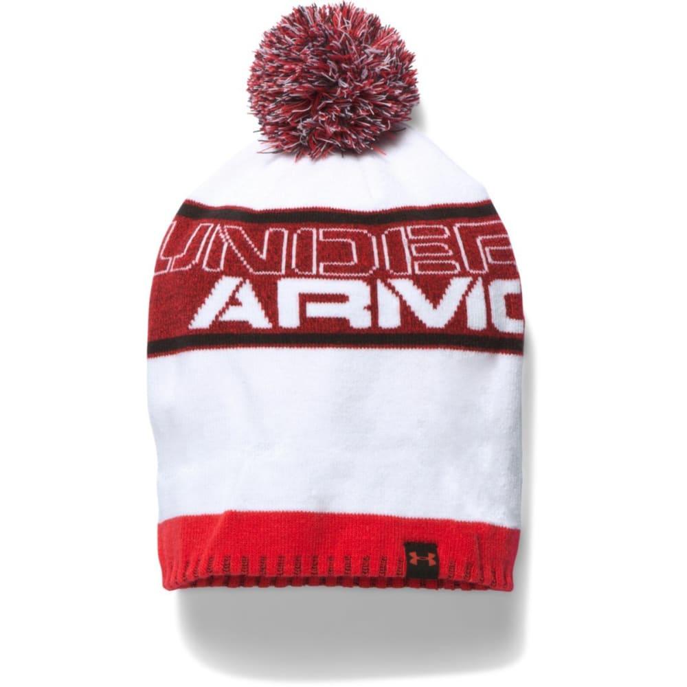 UNDER ARMOUR Boys' Pom Beanie - RED WHT/BLK 600