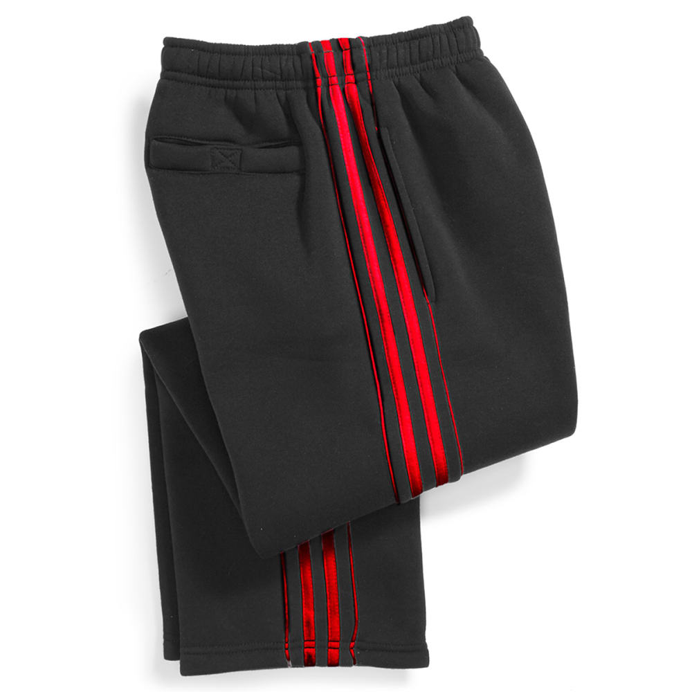 NOTHING BUT NET Boys' Side Stripe Tricot Fleece Pants - BLACK/CHILLI
