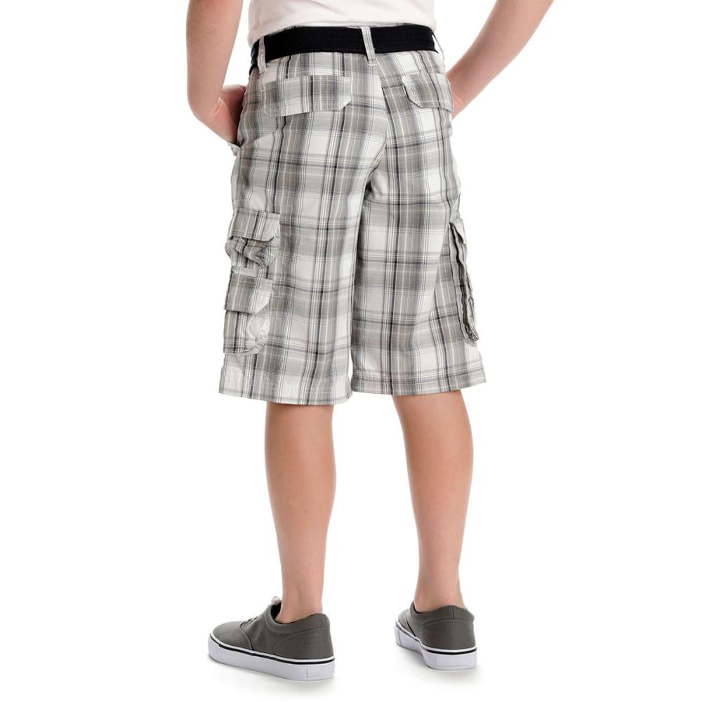 LEE Boys' Wyoming Yarn-Dye Plaid Cargo Shorts - GREY
