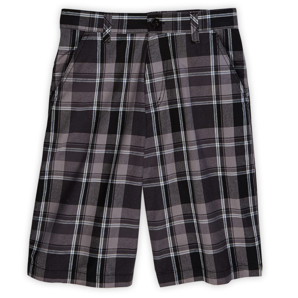 DISTORTION Boys' Plaid Flat Front Shorts - BLACK