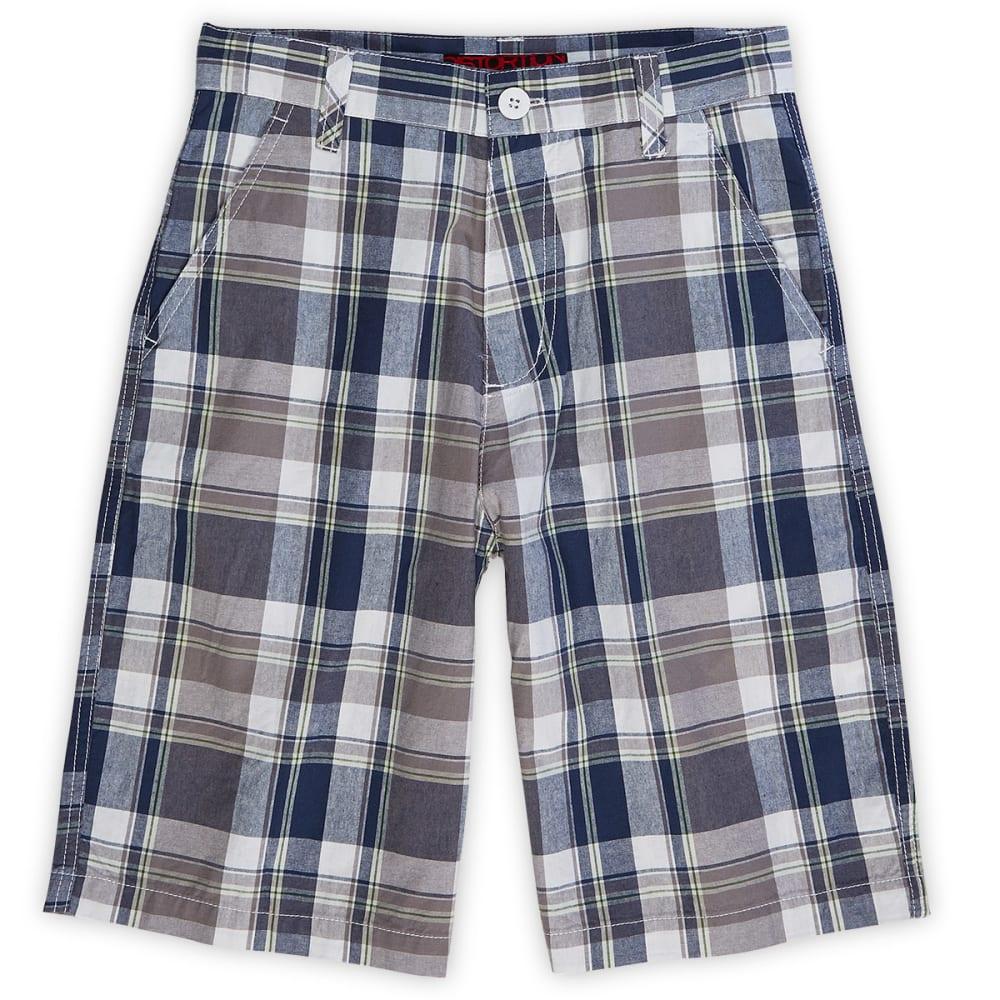 DISTORTION Boys' Plaid Flat Front Shorts - DENIM BLUE