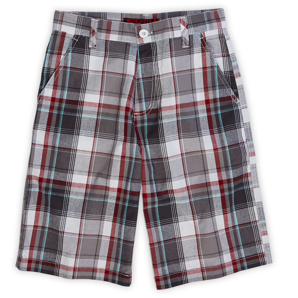 DISTORTION Boys' Plaid Flat Front Shorts, Charcoal - CHARCOAL