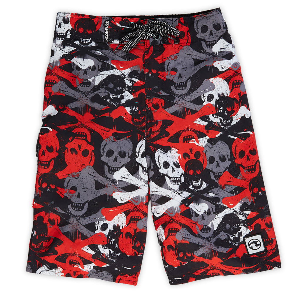 OCEAN CURRENT Boys' Layers Skull Printed Board Shorts - BLOWOUT - RED