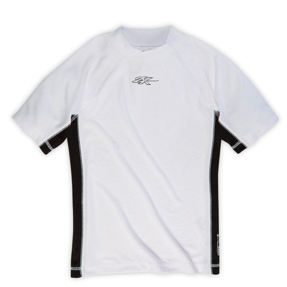 ZEROXPOSUR Boys' Solid Swim Top - WHITE