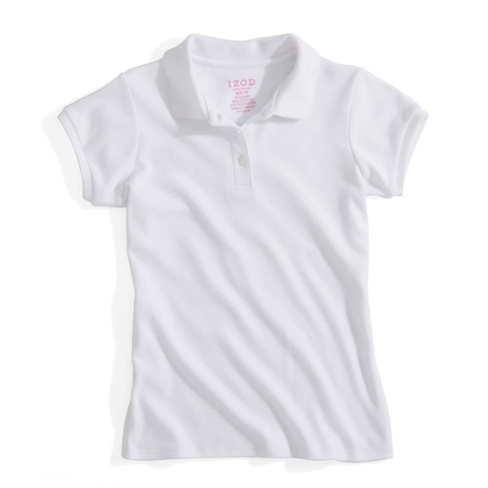 IZOD Girls' Short Sleeve Interlock Polo Sizes S-XL(4-6X) BLOWOUT - WHITE