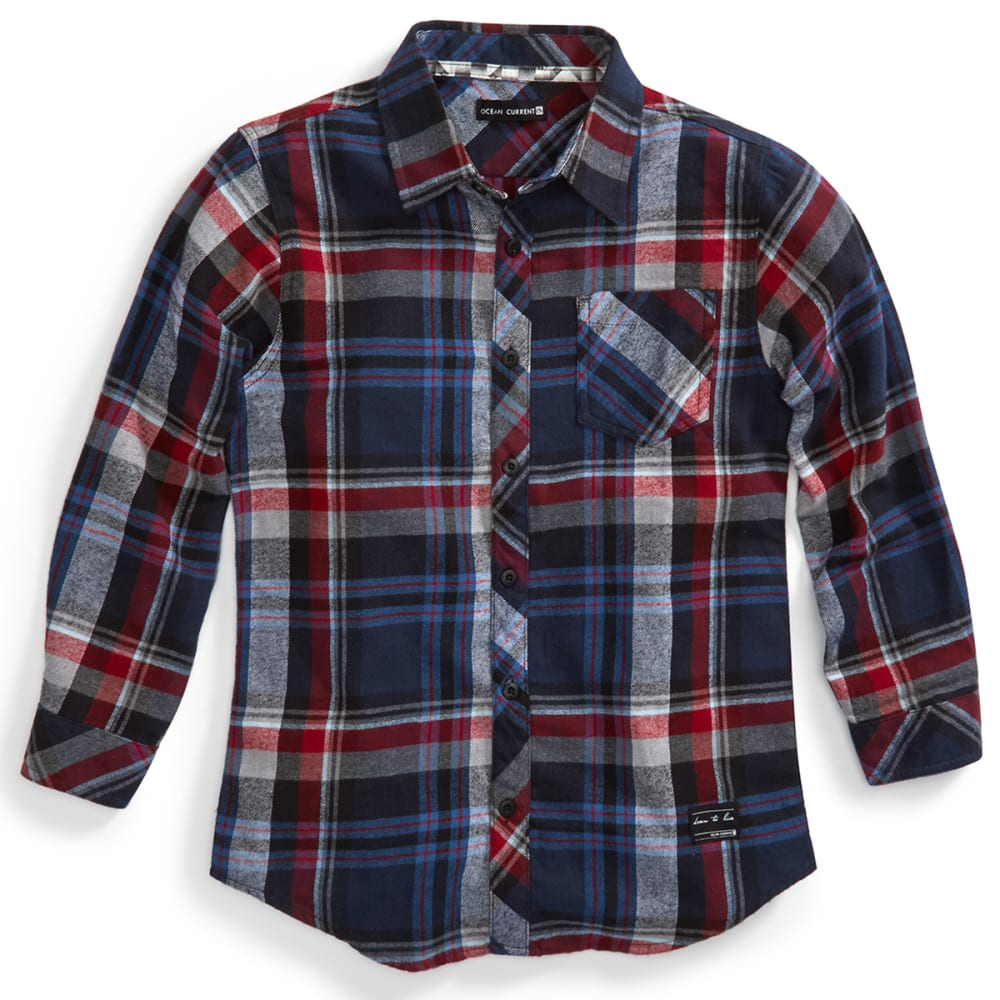 OCEAN CURRENT Boys' Newspaper Plaid Flannel Shirt - MINERAL