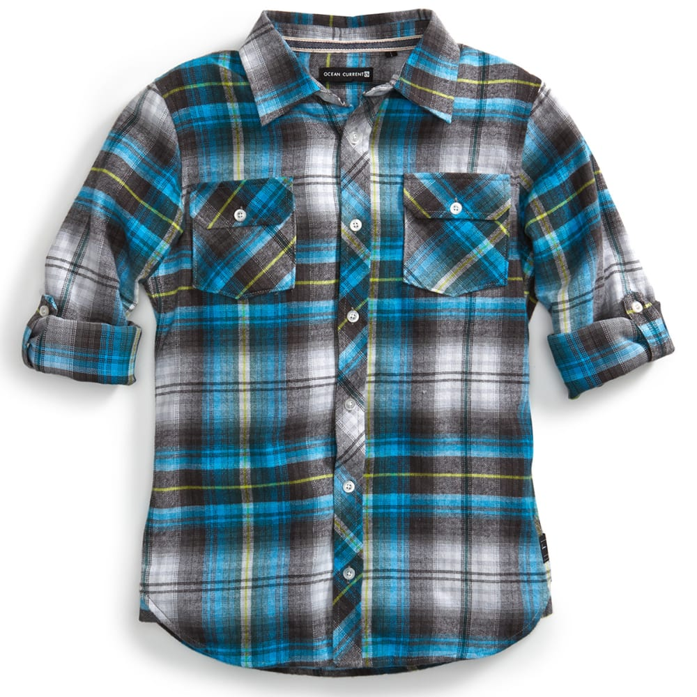 OCEAN CURRENT Boys' Slapshot Plaid Flannel Shirt - OCEAN BLUE
