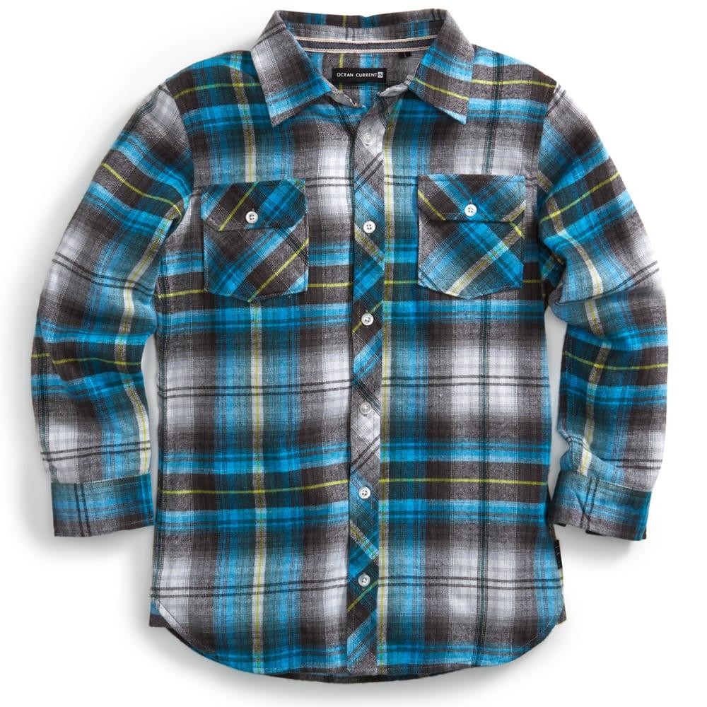 OCEAN CURRENT Boys' Slapshot Plaid Flannel Shirt - OCEAN BLUE