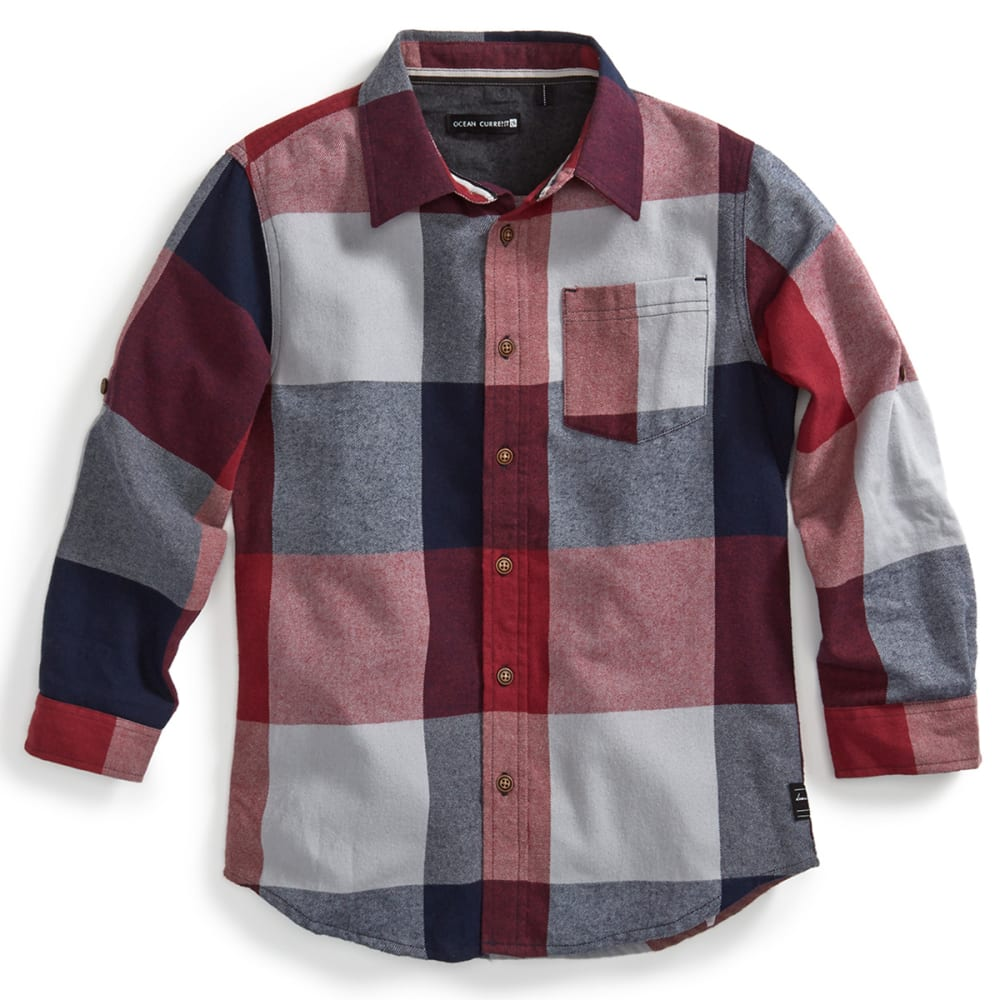 OCEAN CURRENT Boys' Girdwood Plaid Flannel - DEEP BURGUNDY