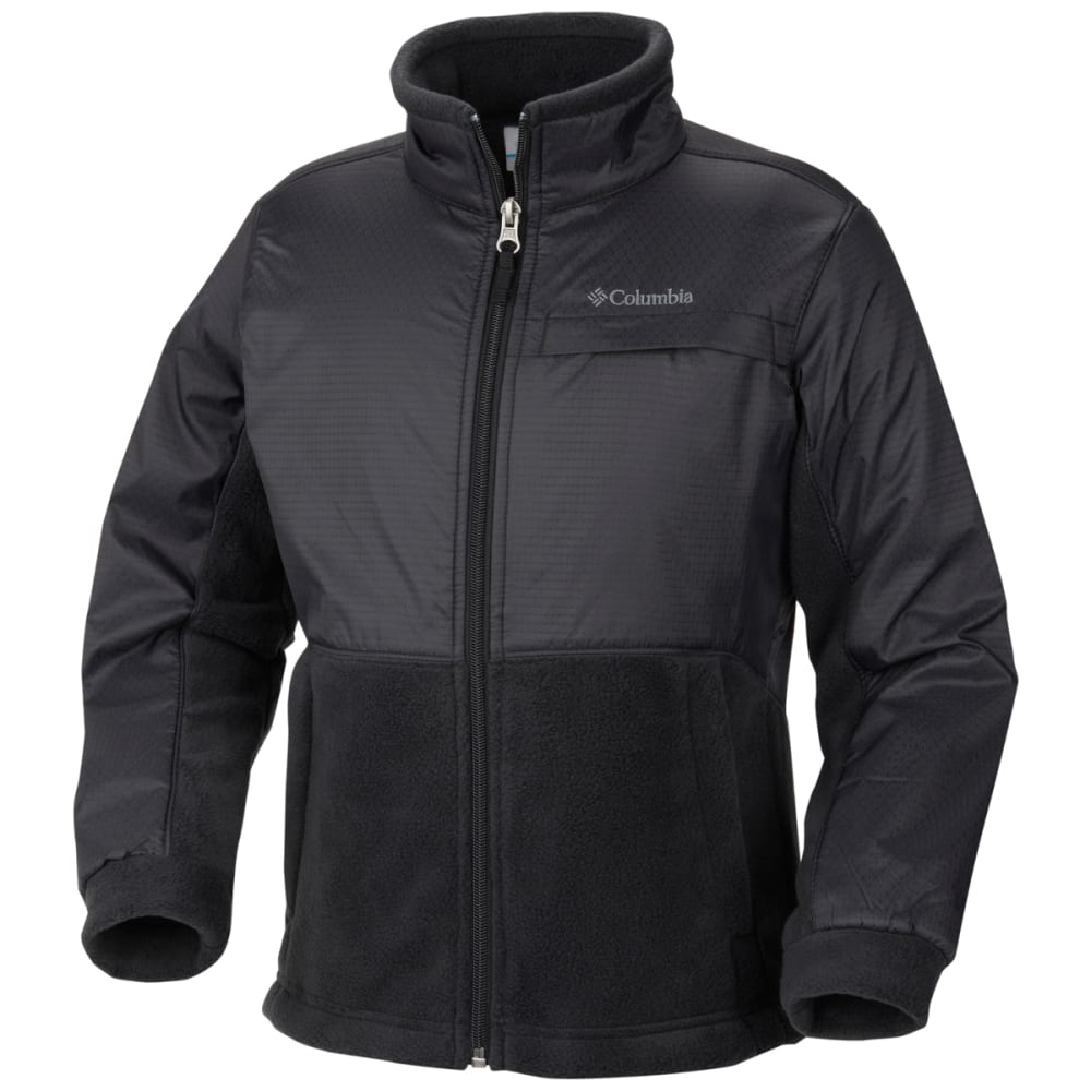 COLUMBIA Boys' Steens Mountain Overlay Fleece - FRONDS BLACK