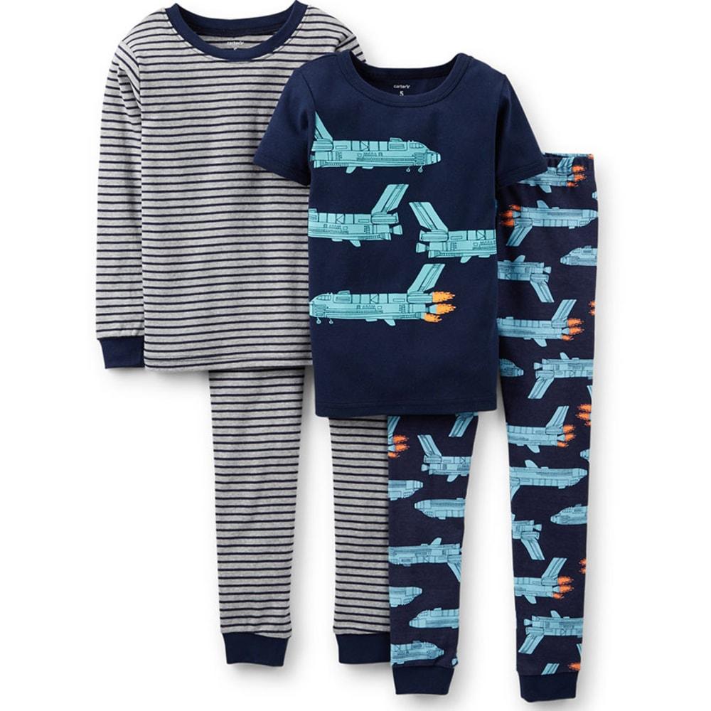 CARTER'S Boys' Rocket Ship 4-Piece Sleepwear, Navy/Turquoise - PRINT