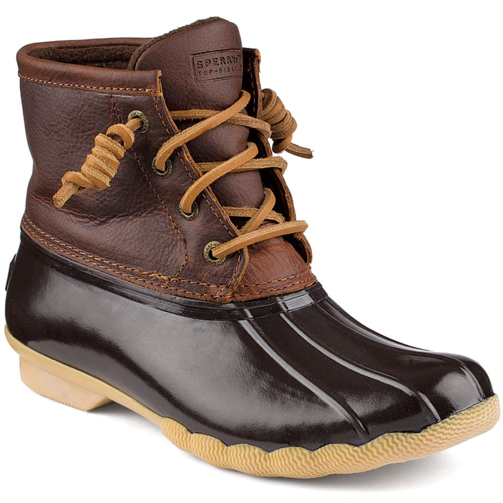 SPERRY Women's Saltwater Duck Boots - DARK BROWN