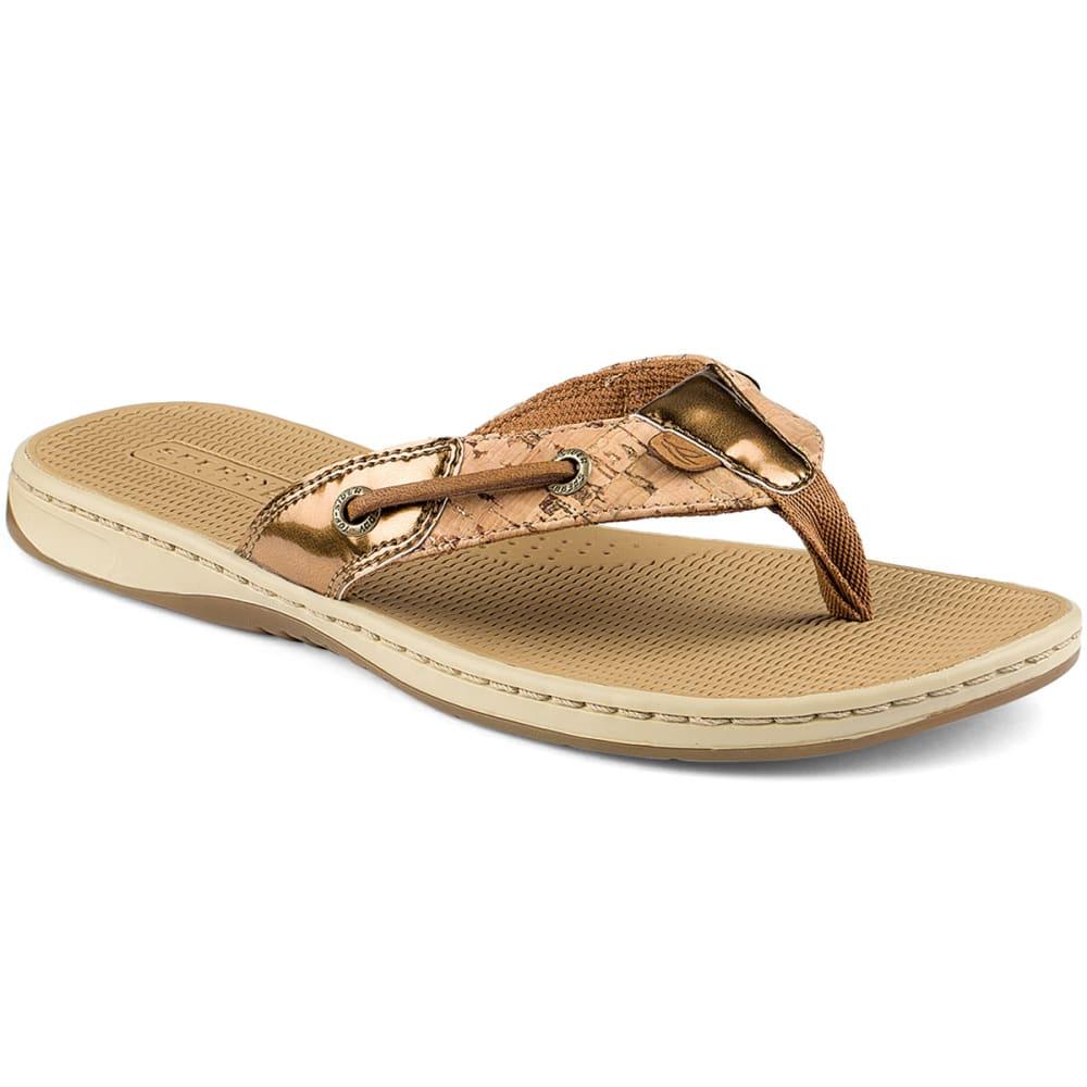 SPERRY Women's Seafish Cork Thong Sandals - COGNAC