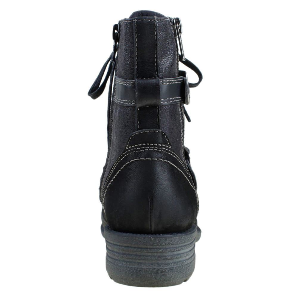 EARTH ORGINS Women's Perrie Leather Lace Up Boots - BLACK
