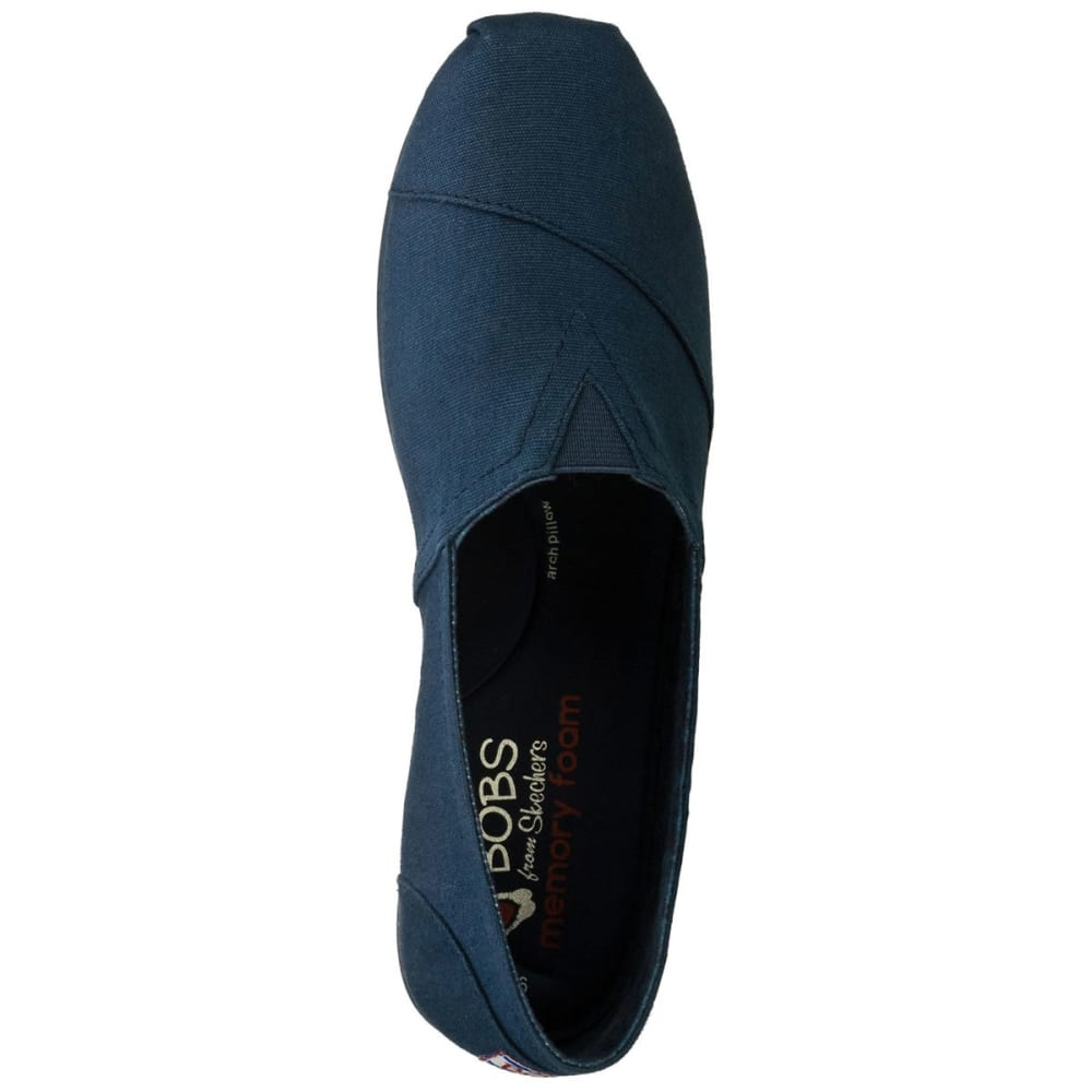SKECHERS Women's Bobs Plush Canvas Shoes, Navy - HORIZON BLUE