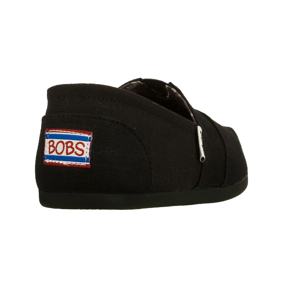 SKECHERS Women's BOBS Plush Canvas Slip-On Shoes - BLACK-BLK