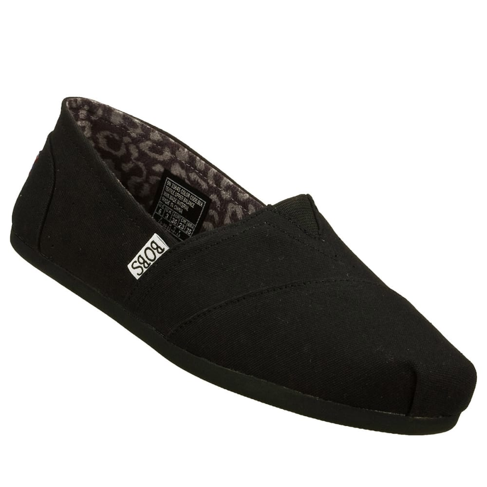 SKECHERS Women's BOBS Plush Canvas Slip-On Shoes - BLACK