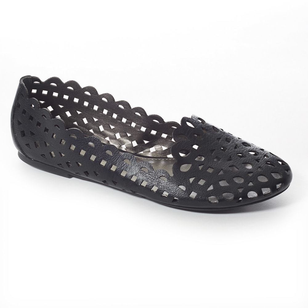 MADELINE Women's Cut-Out Flats - BLACK