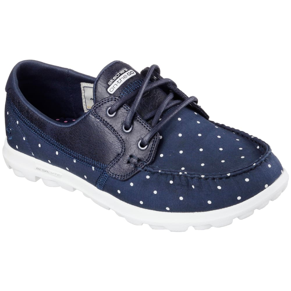 SKECHERS Women's On The Go - Dotty Boat Shoes - NAVY POLKA DOT