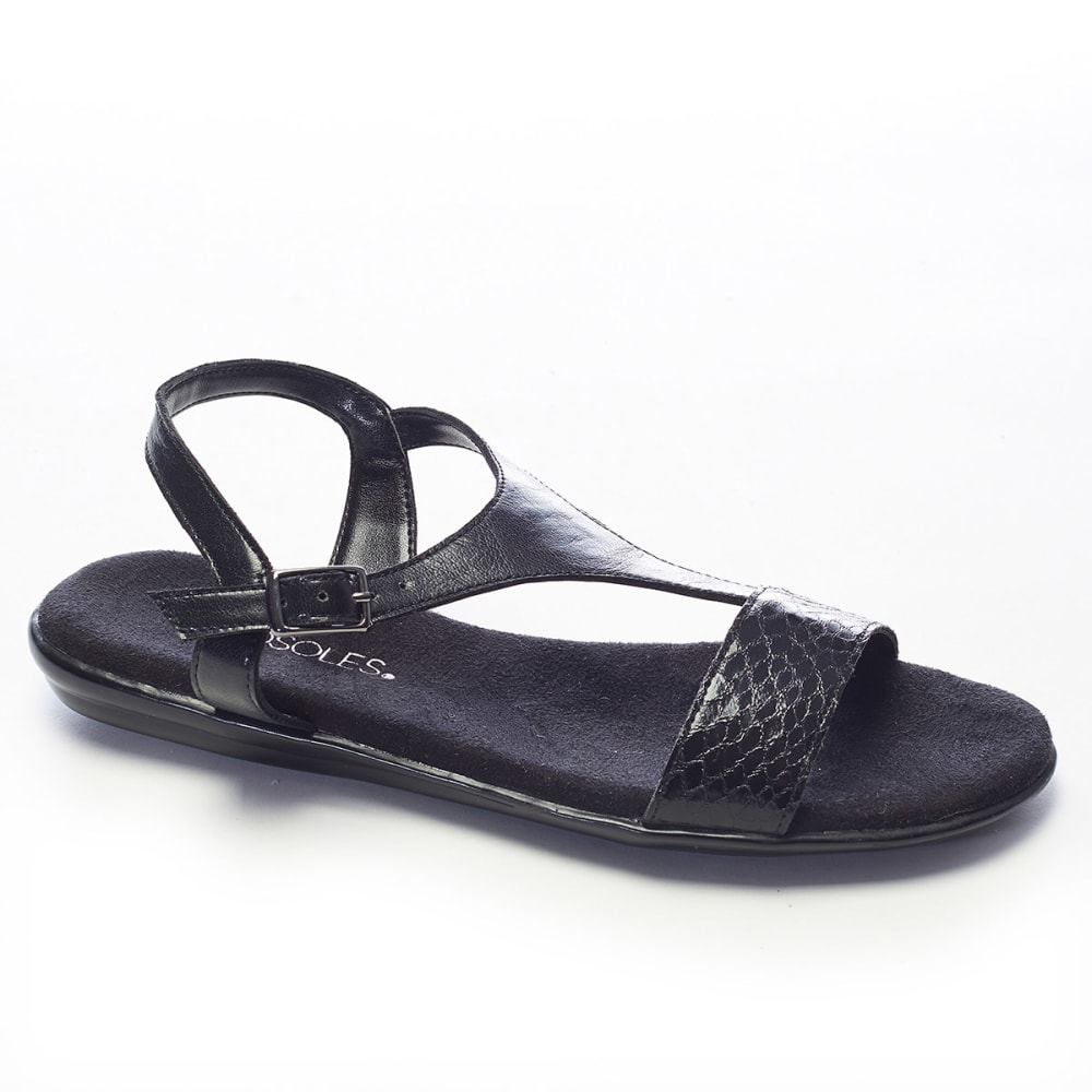AEROSOLES Women's World Chlass Flat Sandals - BLACK