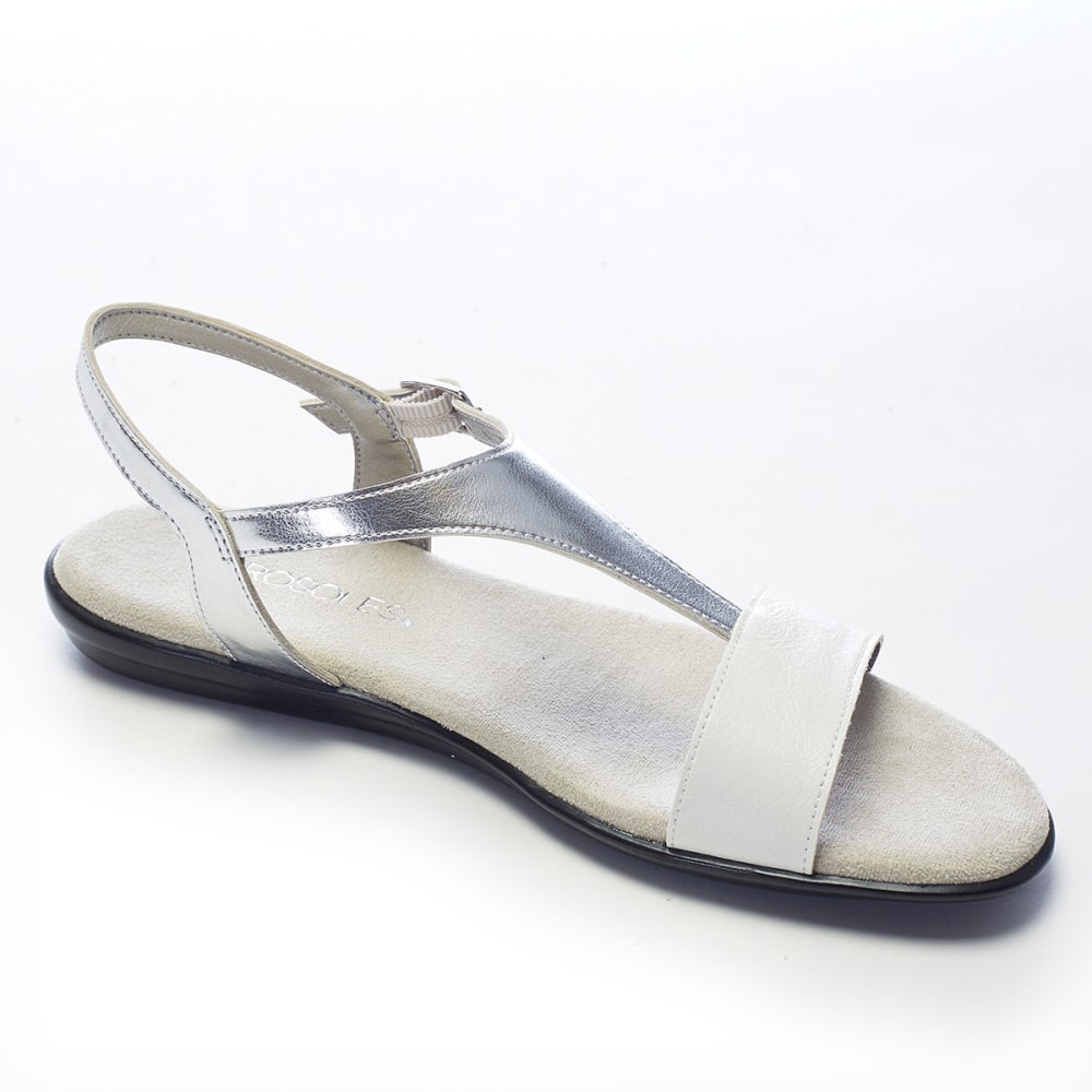 AEROSOLES Women's World Chlass Flat Sandals - WHITE/SILVER