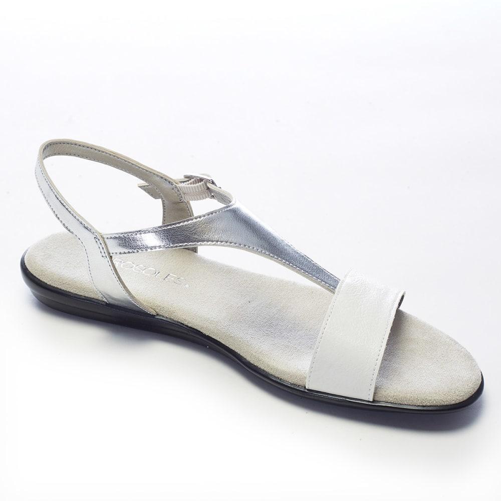 AEROSOLES Women's World Chlass Flat Sandals - WHITE/SILVER
