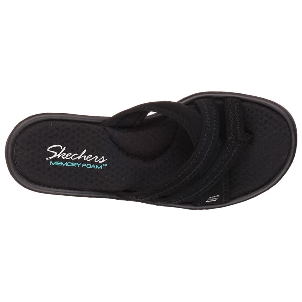 SKECHERS Women's Rumblers Strappy Thong Sandals - BLACK
