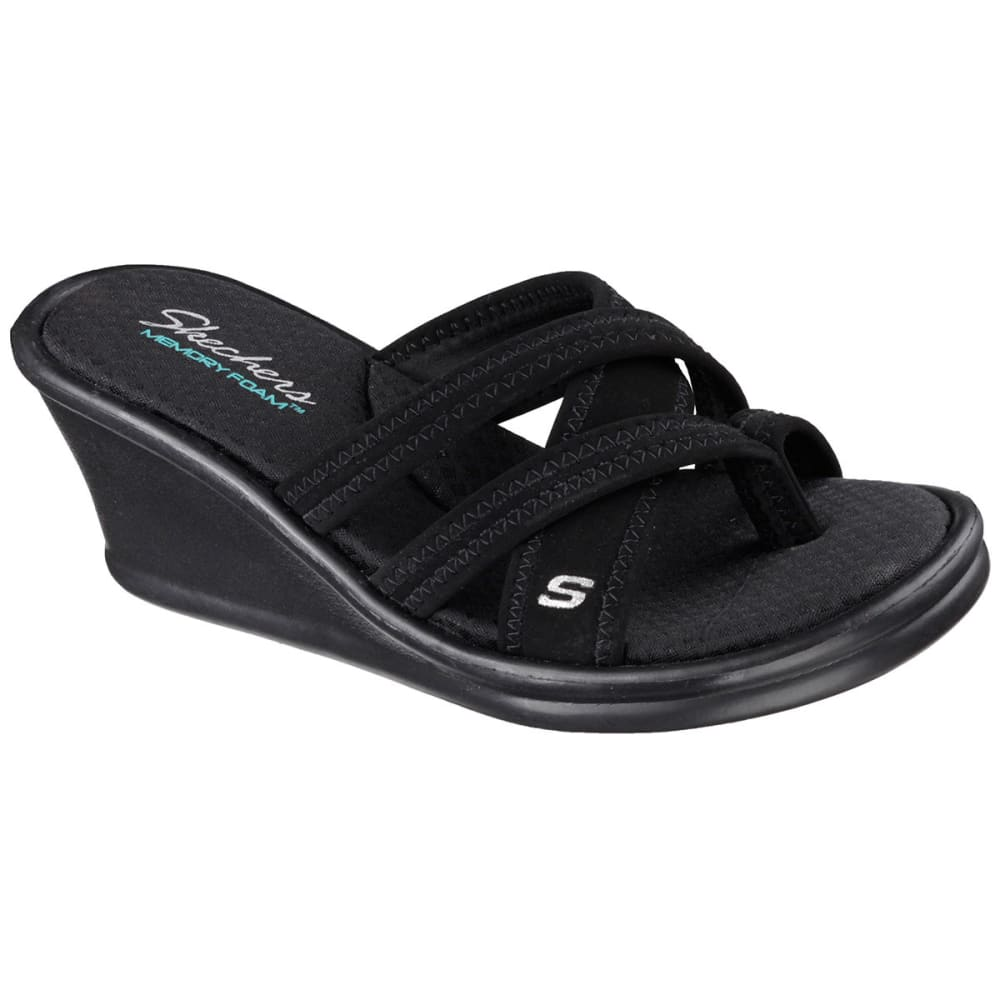 SKECHERS Women's Rumblers Strappy Thong Sandals - BLACK-BBK
