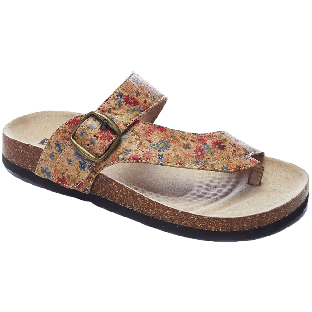 WHITE MOUNTAIN Women's Carley Toe Thong Sandals - NATURAL