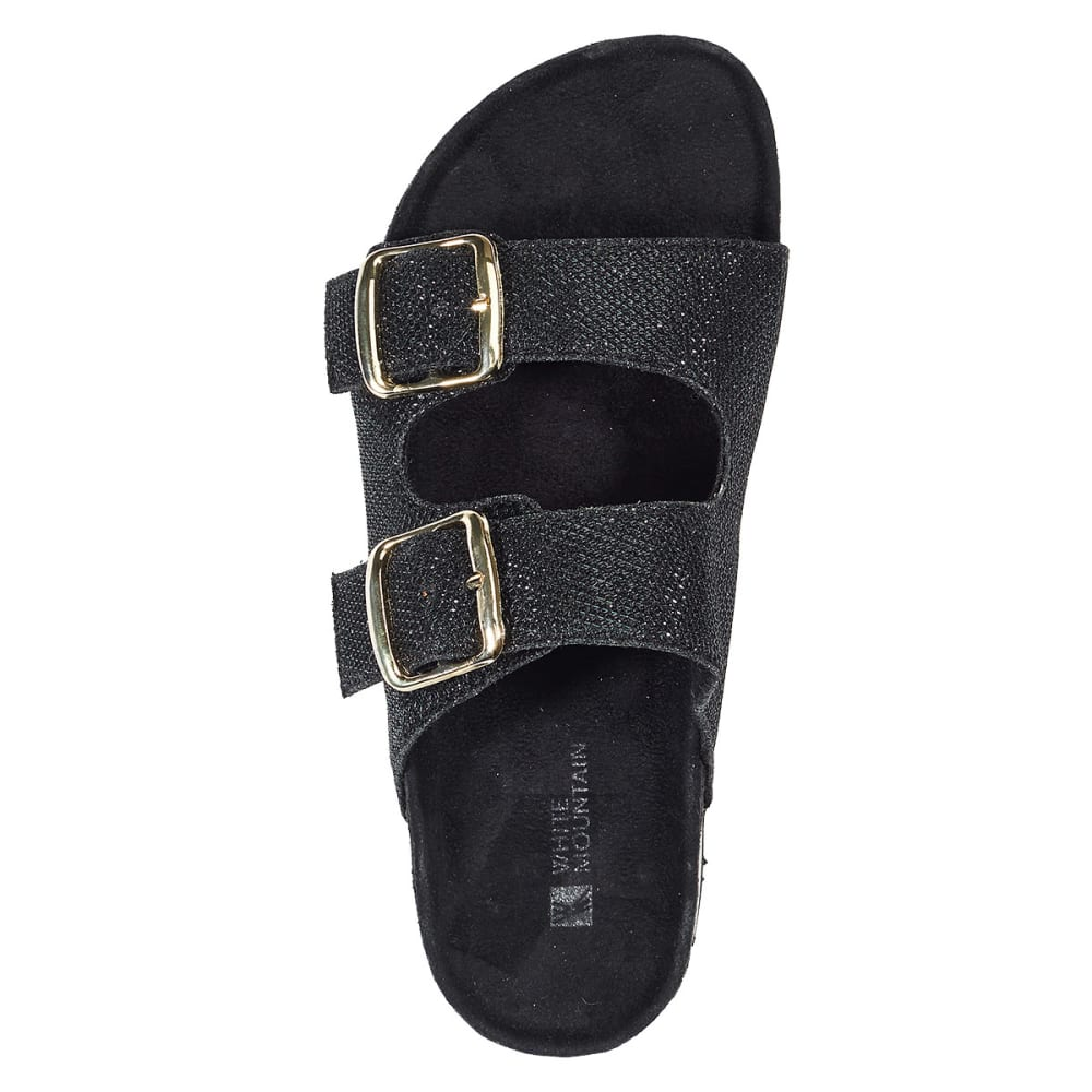 WHITE MOUNTAIN Women's Horizontal Sparkle Sandals - BLACK