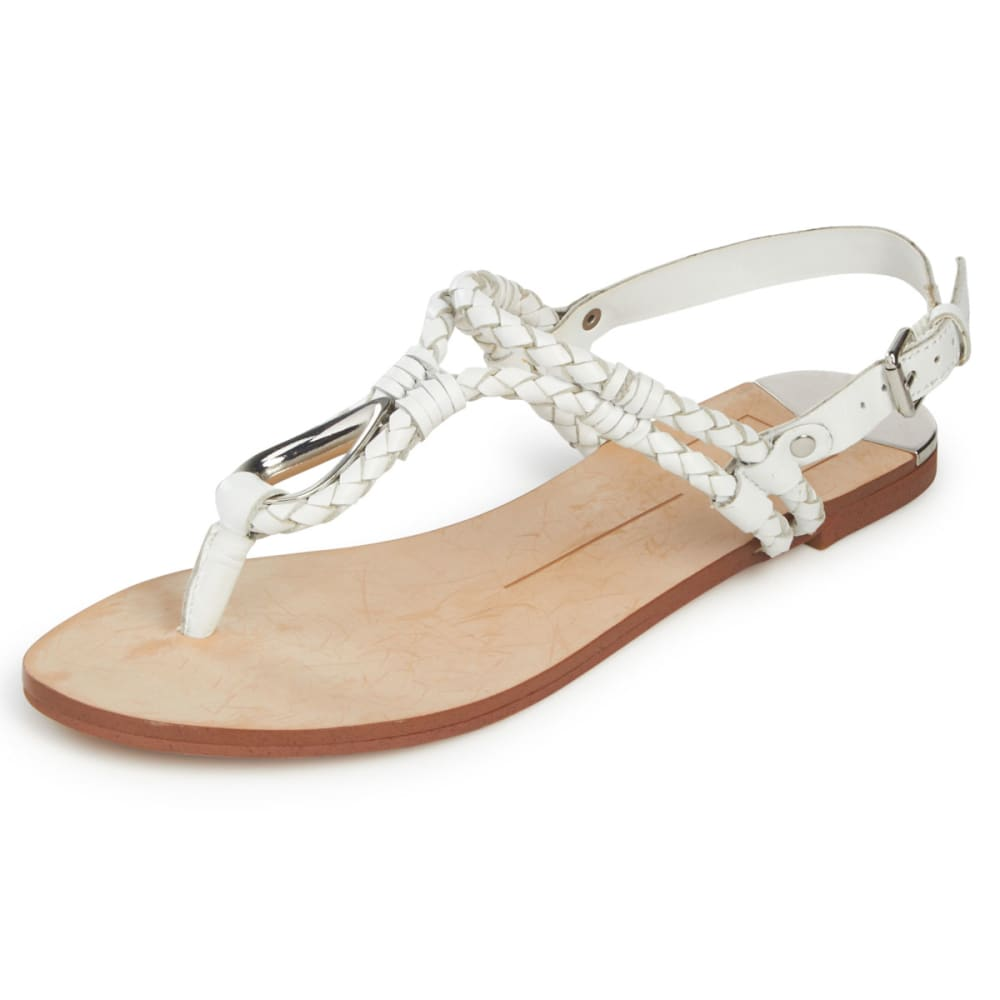 Dolce Vita Women's Dixin Leather Woven Flat Sandals - White, 6