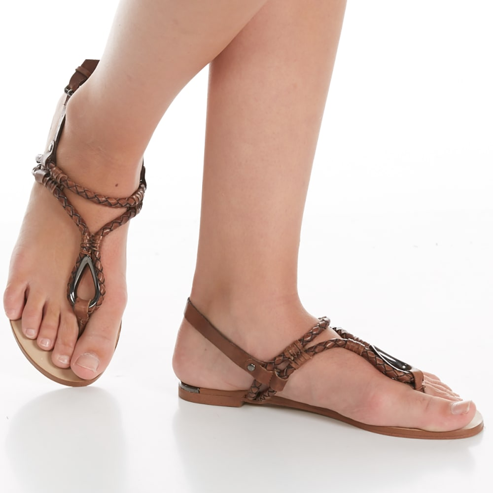 DOLCE VITA Women's Dixin Leather Woven Flat Sandals - COCOA