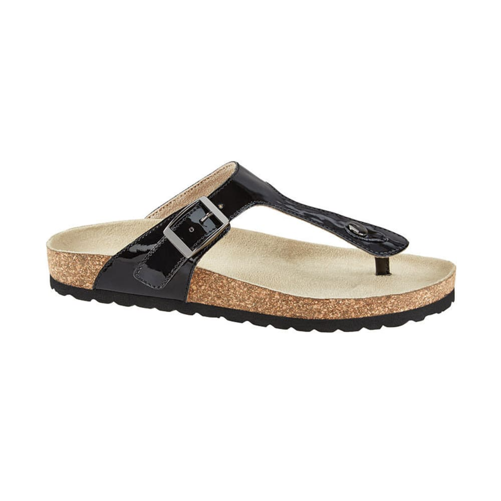 WHITE MOUNTAIN Women's Chicory One Buckle Footbed Sandals, Black Patent - BLACK