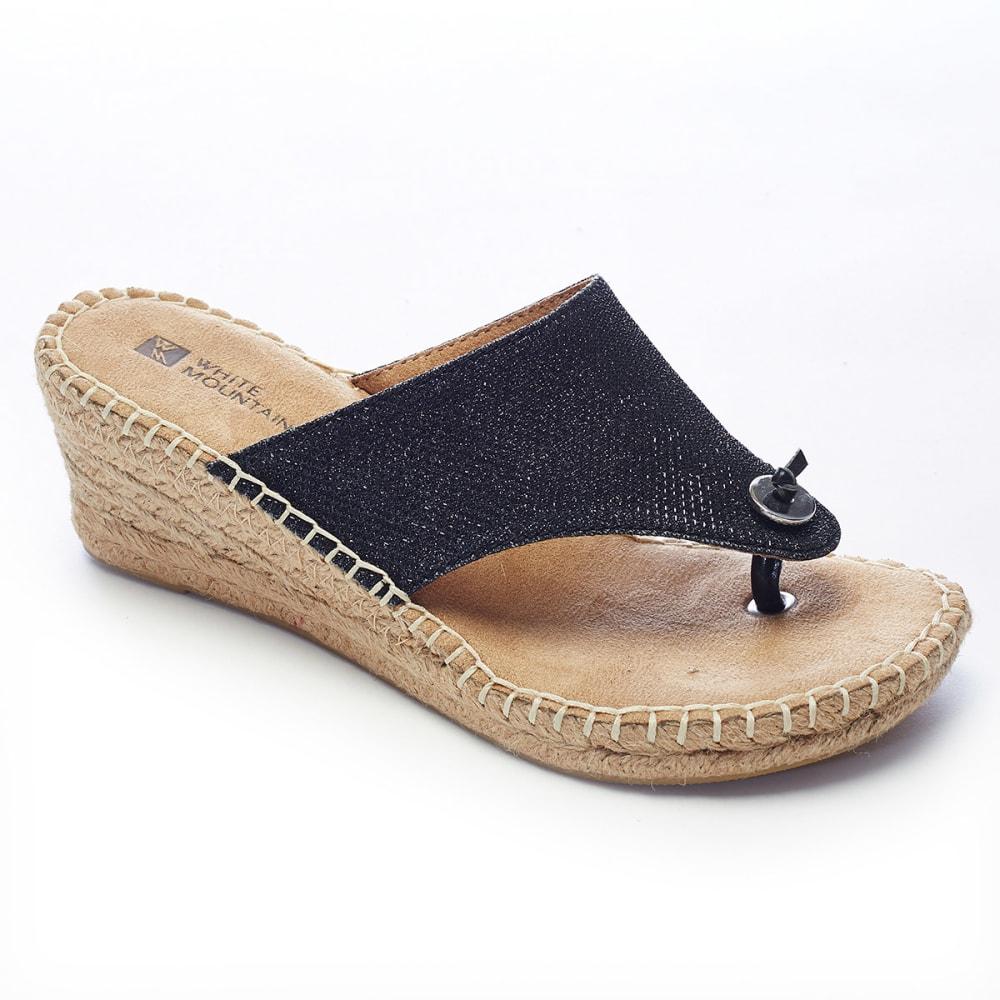 WHITE MOUNTAIN Women's Beach Ball Espadrille Wedge Sandals - BLACK