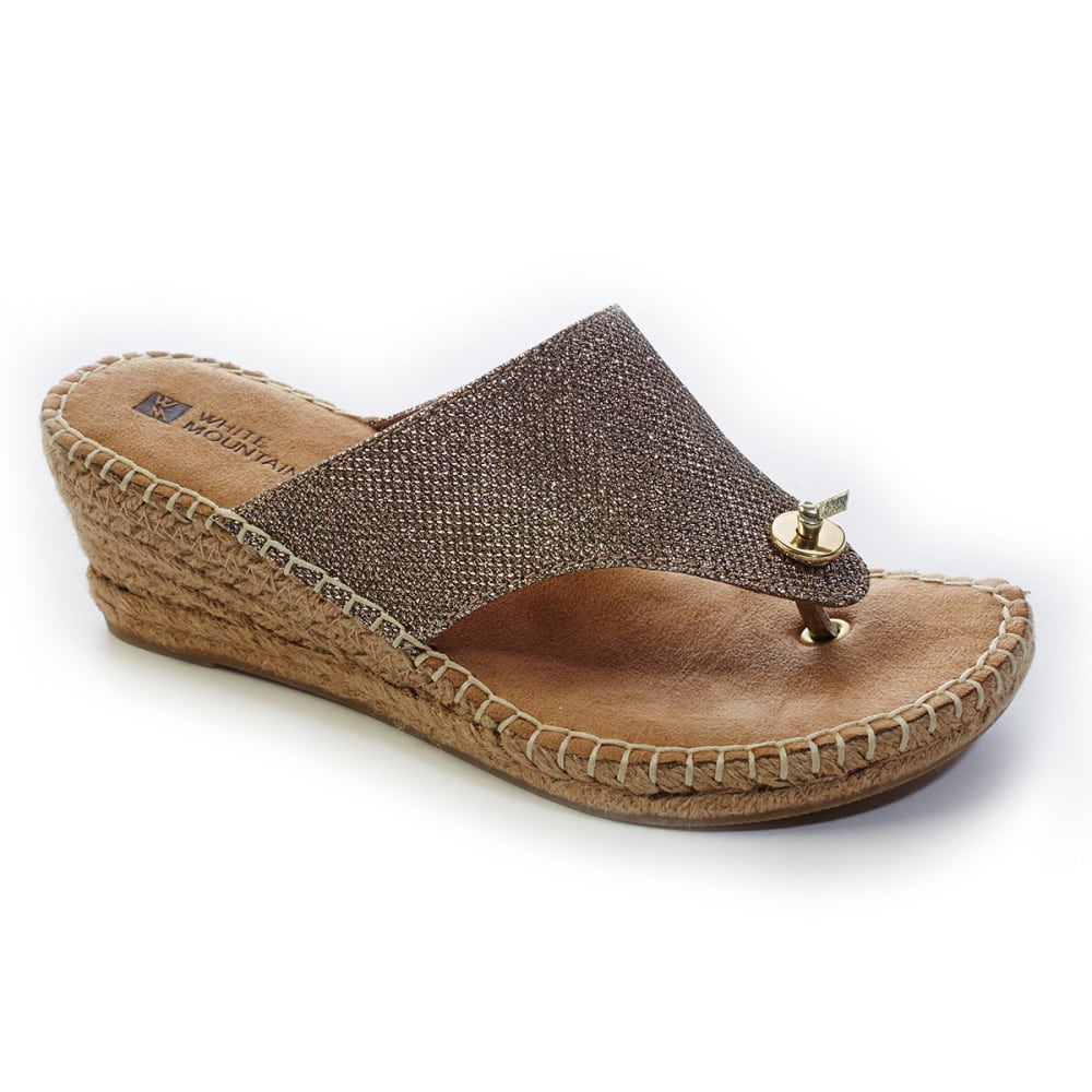 WHITE MOUNTAIN Women's Beach Ball Espadrille Wedge Sandals - GOLD