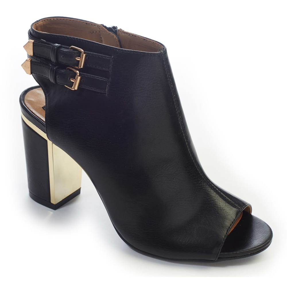 RIALTO Women's Macedonia Black Hooded Buckle Heel - BLACK