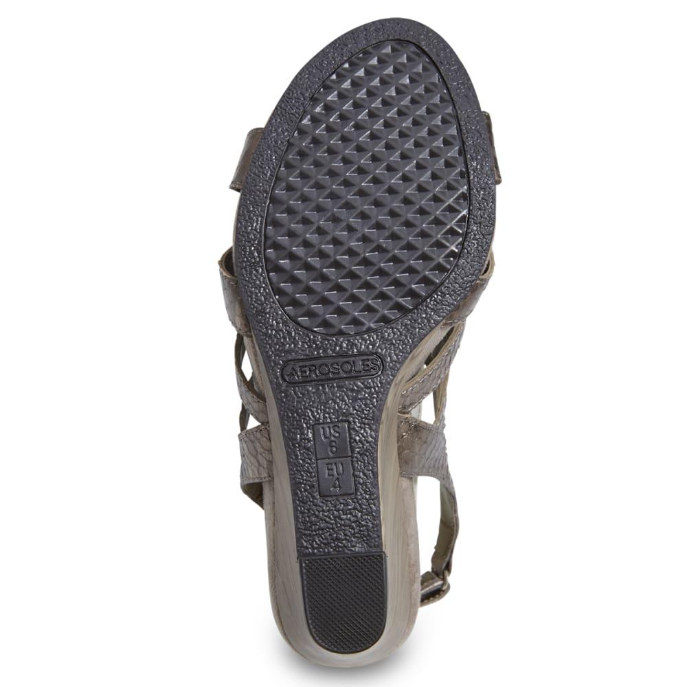 AEROSOLES Women's Mint Plush Wedge Sandals - METALLIC LATTE