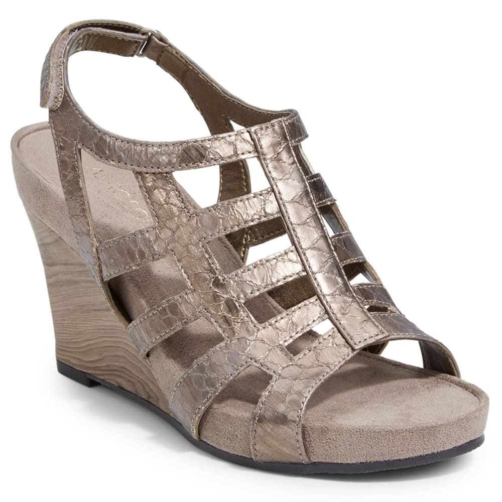 AEROSOLES Women's Mint Plush Wedge Sandals - METALLIC LATTE