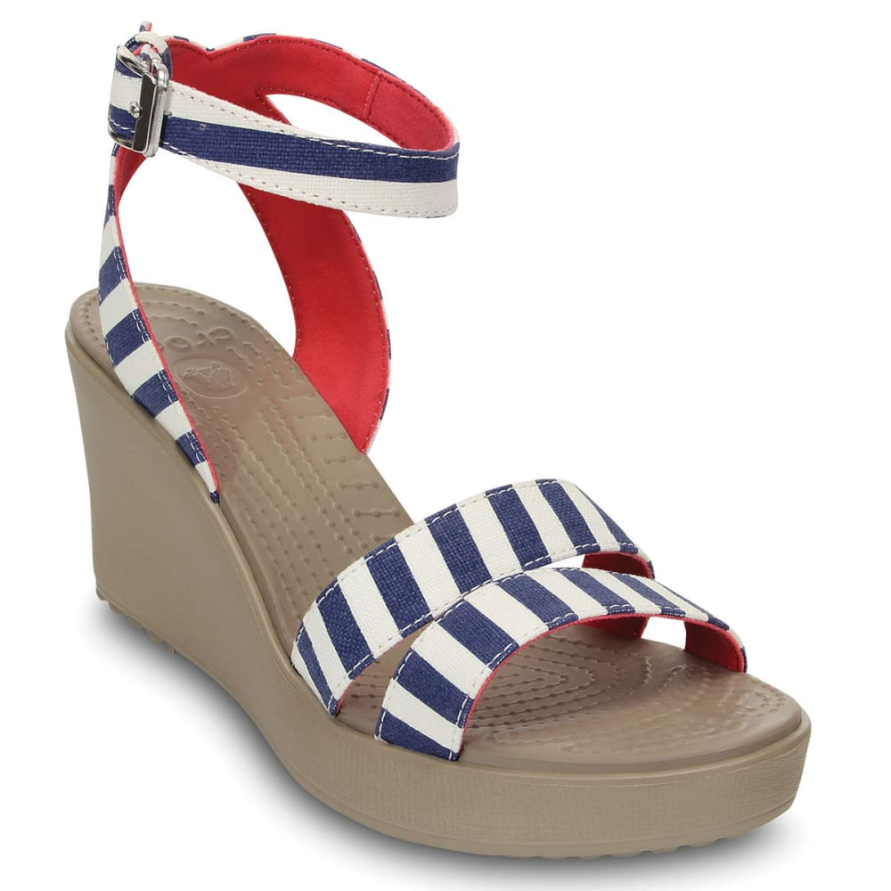 CROCS Women's Leigh Nautical Wedges - NAVY/WHITE