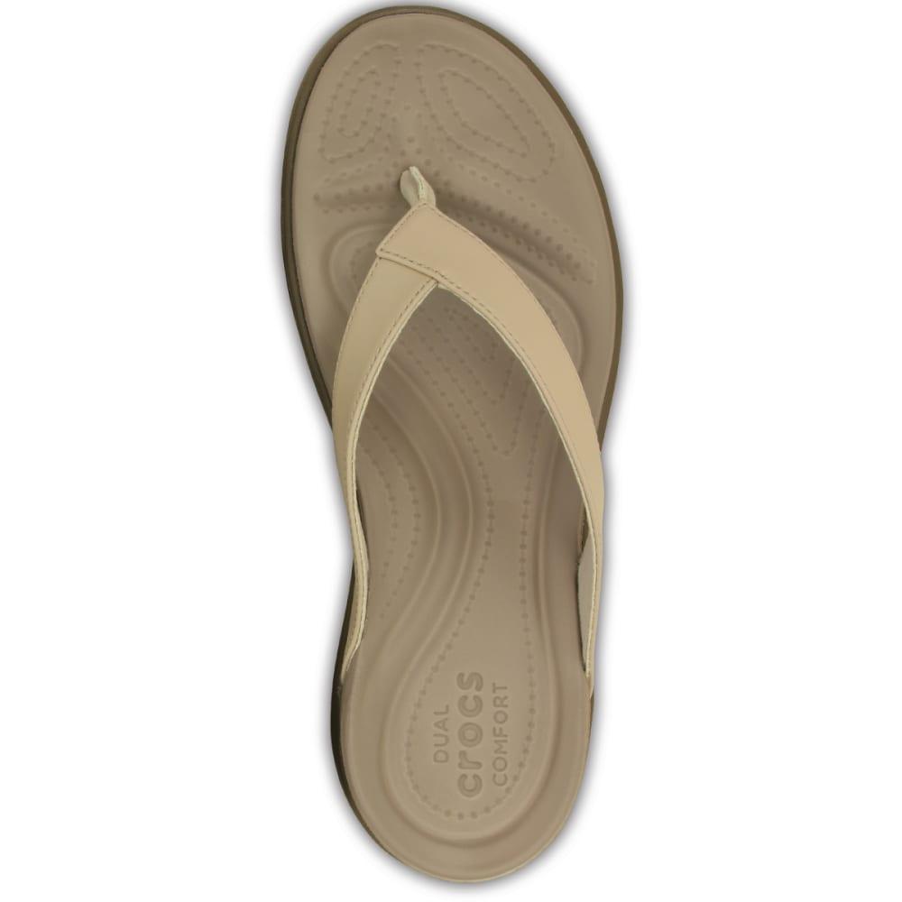 CROCS Women's Capri V Flip Flops - CHAI/WALNUT-27L