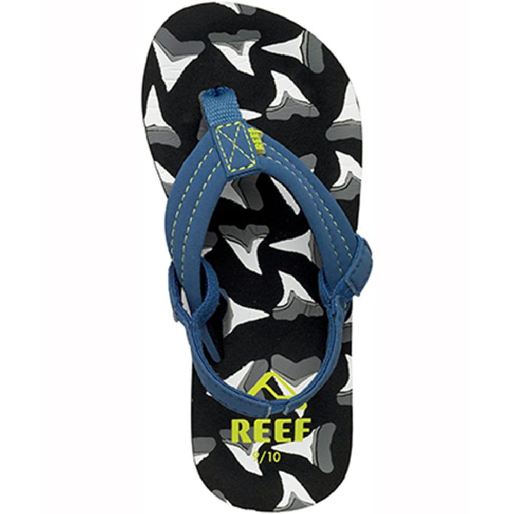 REEF Boys' Ahi Sandals, 13/1 - BLACK/WHITE/BLUE