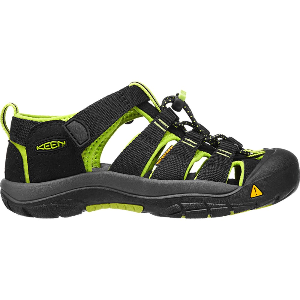 KEEN Youth Newport H2 Sandals, Black/Lime Green - BLACK