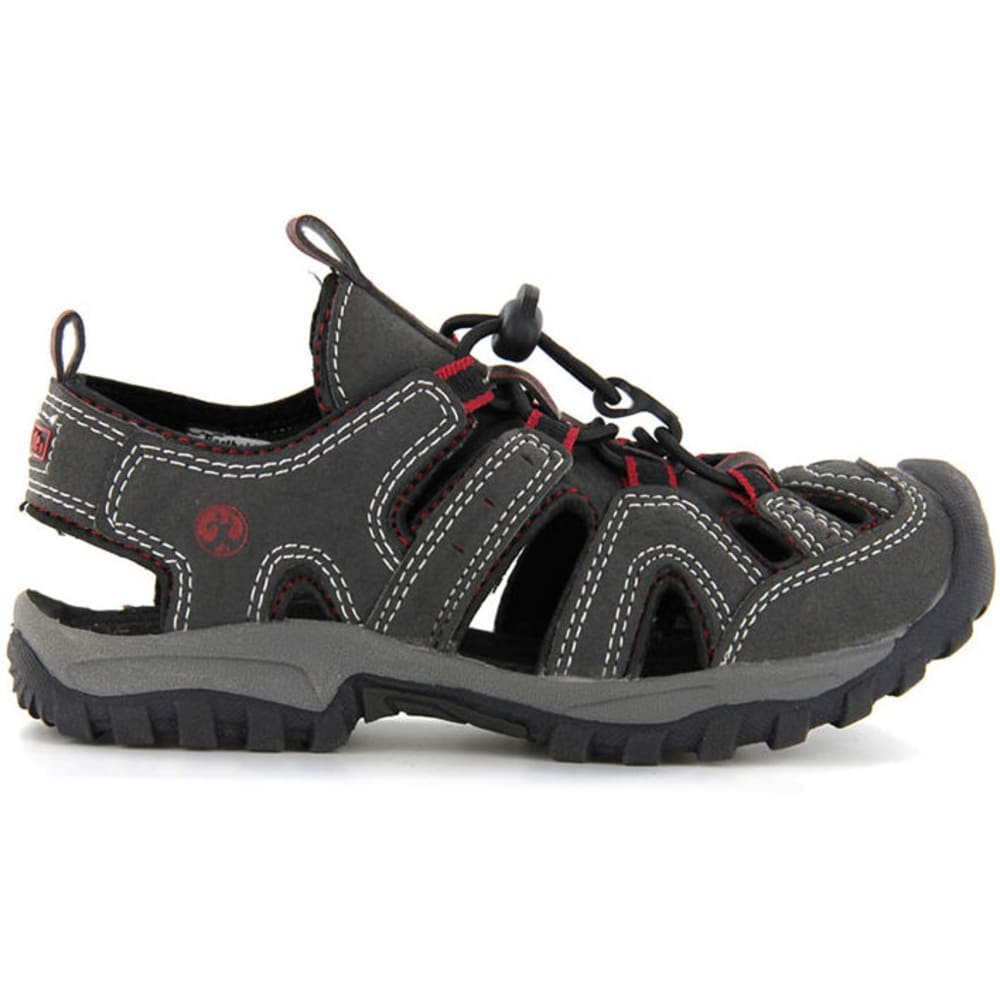 NORTHSIDE Boys' Burke II Bumper Toe Sandals, 13,1-5 - BLACK RED
