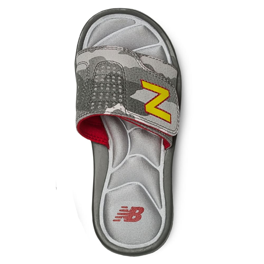 NEW BALANCE Boys' Classic Slide Sandals - GREY/RED