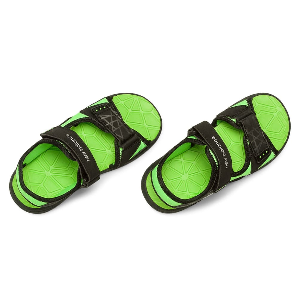 NEW BALANCE Boys' Poolside Sandals V2, Wide - BLACK/GREEN